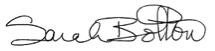 Signature of Sarah Bolton, President, College of Wooster
