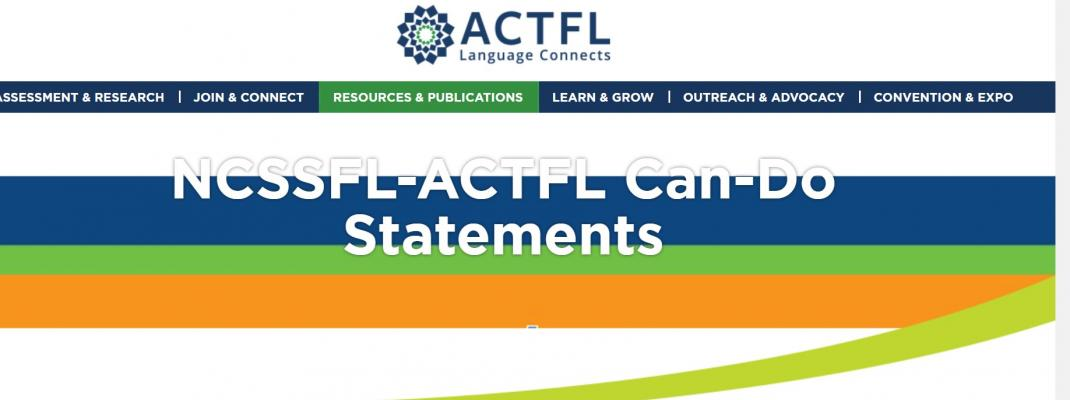 Screenshot from the ACTFL webpage on Can-Do Statements